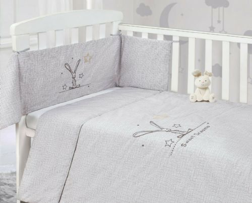 BABY COT NURSERY BEDDING 100% COTTON  2PC BALE COT QUILT & BUMPER GREY UNISEX SWEET DREAMS BUNNY
